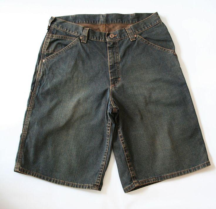 LEE Dungarees Levi s RARE Brown Orange Thread Irridescent Wash DENIM SHORTS W34