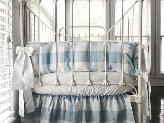 Blue Buffalo Check Krippe Stossfanger Set Boy Krippe Stossfanger Farmhouse Nursery Bedding Kinder Zimmer Kinderzimmer Bettwasche