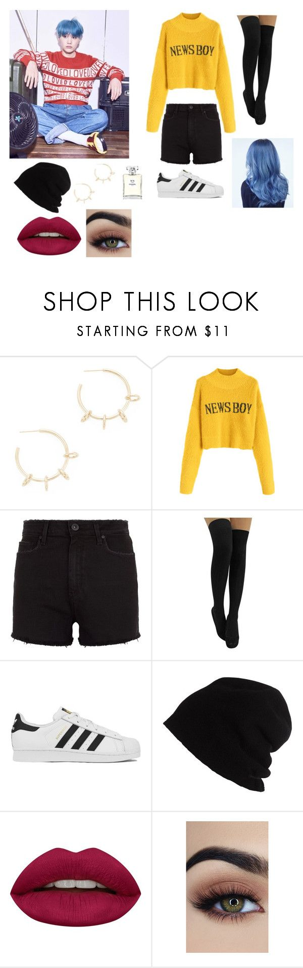 """""""Casual hangout with Suga"""" by gabby-galindo-97 ❤ liked on Polyvore featuring Justine Clenquet, Paige Denim, adidas, SCHA, Huda Beauty and Chanel"""