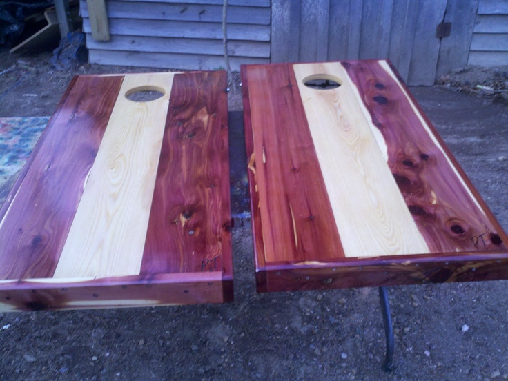Red And White Cedar Boards Cornhole Pinterest