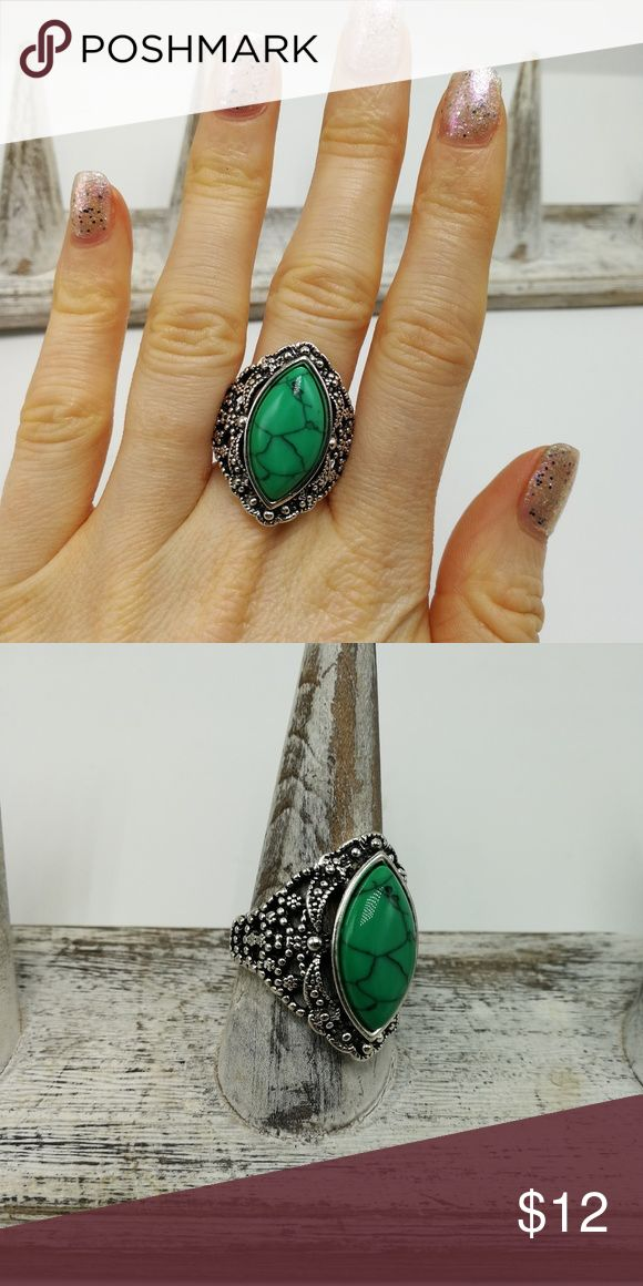 PLUS SIZE green Turquoise howlite ornate New with tags! Gorgeous Natural Gemstone White Buffalo Turquoise howlite Tibet Silver ring. Mixed metals. Lead and nickel free. Price is firm. No holds. Bundle to SAVE. R#2007*GREEN/BLUE TURQUOISE* boutique Jewelry Rings