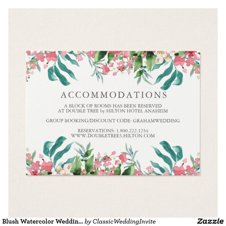 Blush Watercolor Wedding Information Mini Card