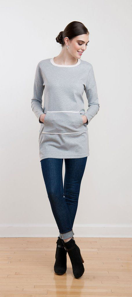 Cozy sweatshirt tunic in light grey ponte with contrasting collar and front pocket trim, perfect casual look for winter