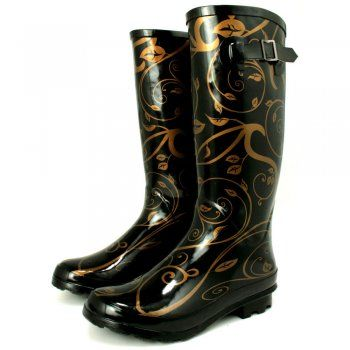 Womens Gold Wellies Wellingtons Flat Boots