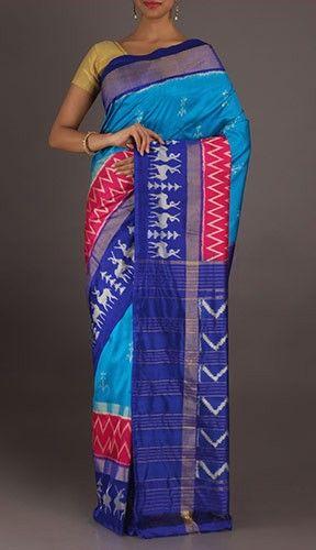 Sharvya Rain Deer Calling Cool Blue Ikat Pochampally Silk Saree