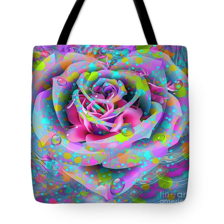 Petals Tote Bag featuring the digital art Rose by Eleni Mac Synodinos