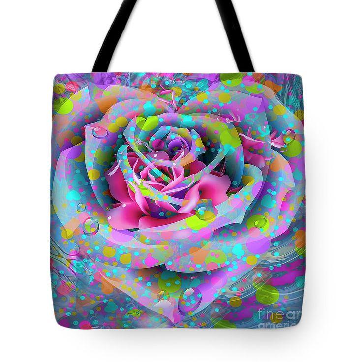 Petals Tote Bag featuring the digital art Rose by Eleni Mac Synodinos