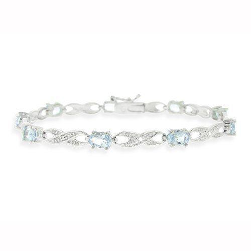 Rhodium Plated 4.95ct Blue Topaz & Diamond Accent Infinity Bracelet Topaz Jewels. $22.99