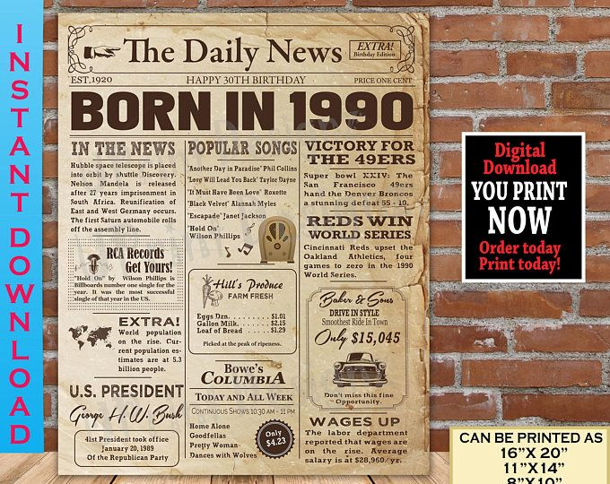 1930 Birthday Poster For 90th Birthday 1930 Facts For 90th Etsy In 2020 Birthday Poster 90th Birthday Birthday Gift For Him