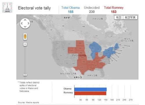 オバマ ロムニー 支持率をGoogle Mapで表現した図 | A!@attrip
