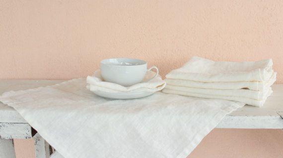 Linen napkins, Natural linen napkins, Washed natural linen napkins