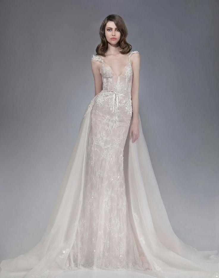 Fall 2016 Victoria KyriaKides sheath wedding dress with detachable skirt | https://www.theknot.com/content/victoria-kyriakides-wedding-dresses-bridal-fashion-week-fall-2016