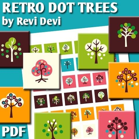 Retro Dot Trees 16298  Printable Square 1 inch size by BlessedShop
