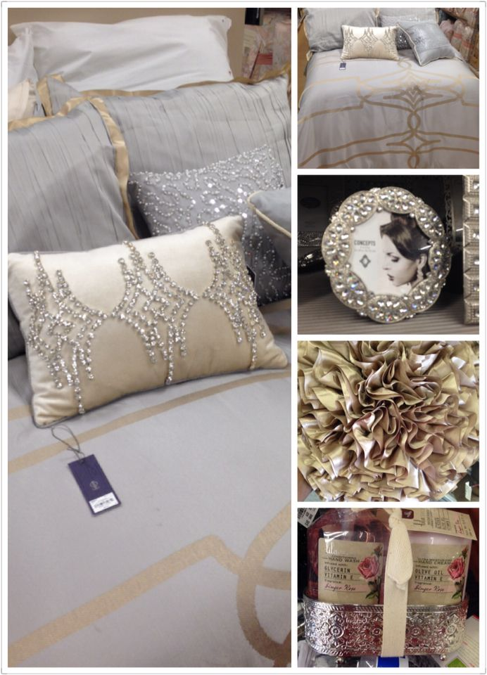 "The Jennifer Lopez bedding totally glam over!!! Love it - frames and pillow from the ""local Tuesday Morning Store!!Gotta Have it..."