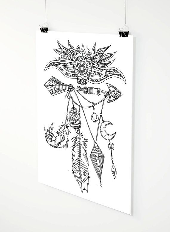 Native Jewels adult coloring page by ZuskaArt on Etsy
