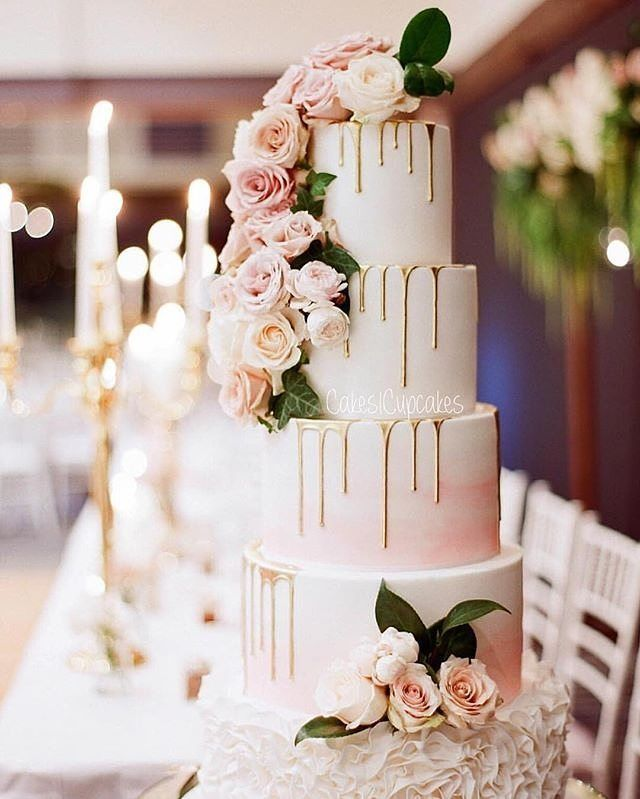 Dripping with gold and lavished with florals is this by @cakes2cupcakes…
