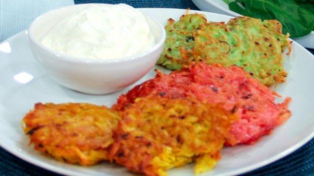 Coloured Potato Latkes | Steven and Chris | Naturally coloured potato latkes. Nice side dish for Eggs Benedict!