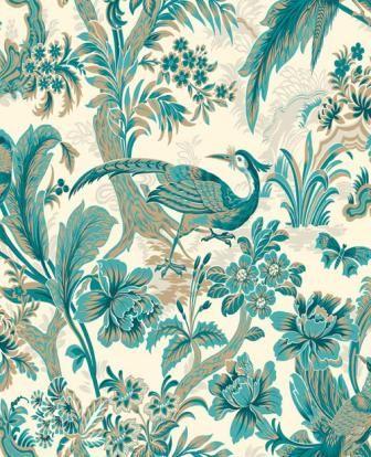 teal peacock wallpaper