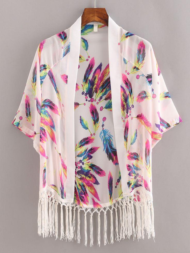 Shop Macrame Fringe Feather Print Chiffon Kimono - White online. SheIn offers Macrame Fringe Feather Print Chiffon Kimono - White & more to fit your fashionable needs.