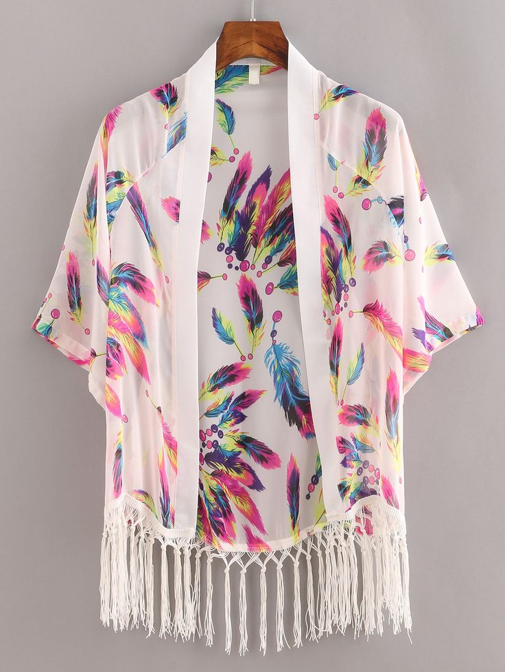 Shop Macrame Fringe Feather Print Chiffon Kimono - White online. SheIn offers Macrame Fringe Feather Print Chiffon Kimono - White & more to fit your fashionable needs.