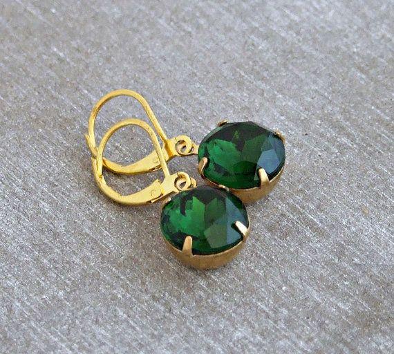 Emerald Green Earrings .. green earrings glass jewel