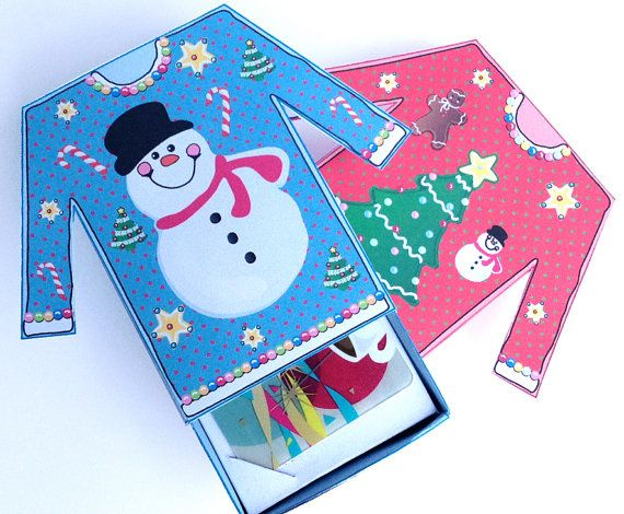 2 set Ugly Sweater Gift Card Holder PDF KIT... a fun way to give a give a gift card... use as a white elephant gift... or for the 'best ugly sweater' party prize... instant download... $7.99