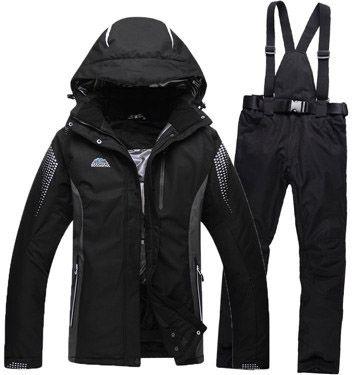 63.84$  Know more  - Cheap Brands Men/Woman Snow Ski suit sets outdoor skiing snowboard waterproof windproof thermal -30 Black jacket + bib pant