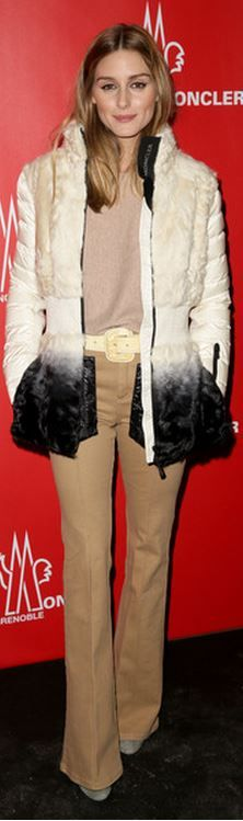 Olivia Palermo: Jacket – Moncler  Shirt – CH  Pants – Reiss  Shoes – Aquazurra x Olivia Palermo