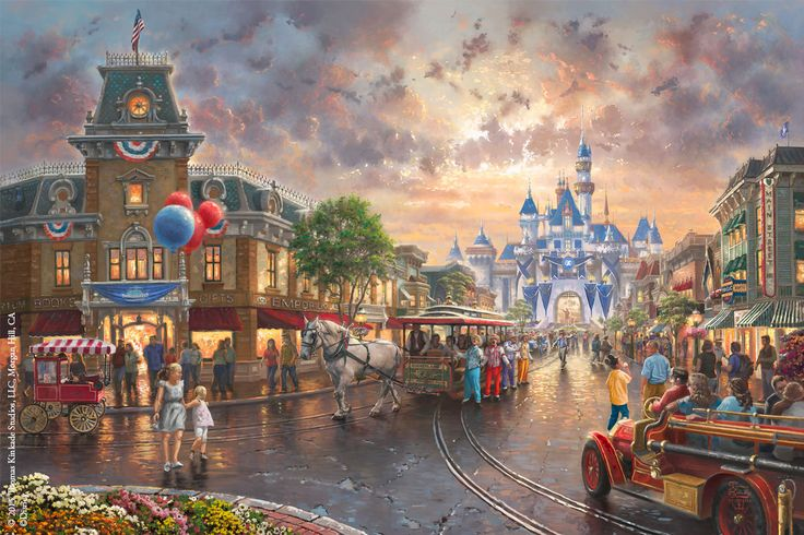 Introducing Disneyland® 60th Anniversary, new Limited Edition Artwork from the Thomas Kinkade Studios! It is with great pride that we celebrate the park's history and the anniversary of Walt Disney's monumental achievement in art and entertainment. Experience the magic of this Diamond Anniversary painting at your local Authorized Thomas Kinkade Gallery or by clicking on this Pin. #disney #disneyland #disneyland60 #thomaskinkade #art