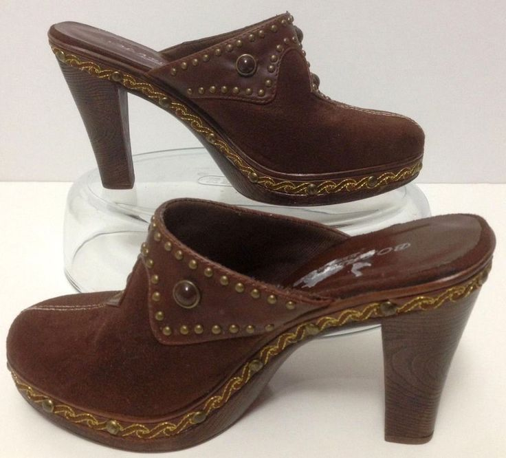 Bolaro 6.5 Womens Brown Mule Clogs Faux Suede Studs Gold Trim 4 inch Heels Slids #BolarobySummerRio #Mules #Clogs #Vegan #suede #Studded