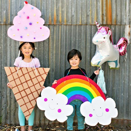 Find out how to make this cute and easy rainbow costume (ice cream costume also included in link in post).