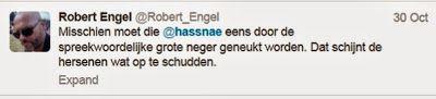 Robert van den Engel: Misschien moet die @hassnae eens door de spreekwoordelijke grote neger geneukt worden. Dat schijnt de hersenen wat op te schudden