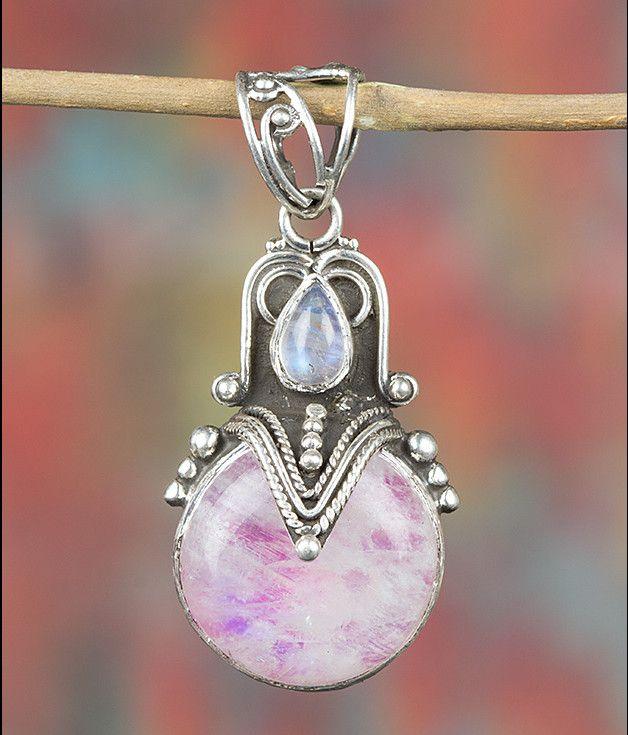 Maansteen - Roze Regenboog Maansteen Hanger, ZilverJuwelen - Een uniek product van Midas-Jewelry op DaWanda