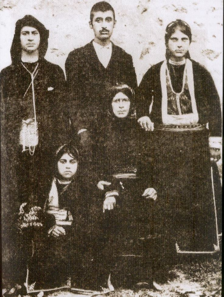 Traditional costumes from the village of Santa (now named Dumanlı; near Yağmurdere, in the Gümüşhane province), Rum (Anatolian Greek) from the Pontos region, early 20th century.