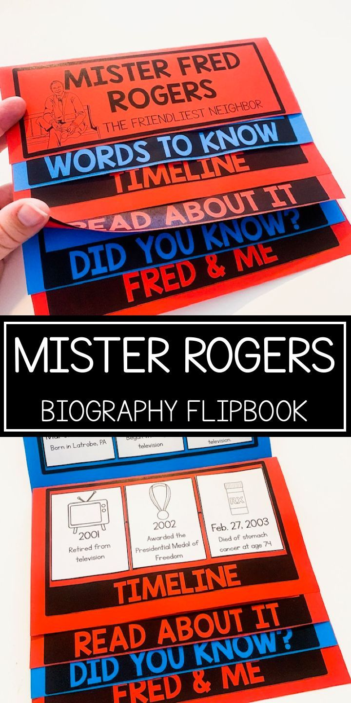 Mister Fred Rogers Biography Flip Book And Interactive Notebook In 2020 Flip Book Flip Book Activities Guided Reading Resources