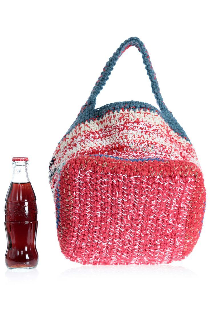 DANIELA GREGIS - Medium Multicoloured Bag In Hand-Worked Cotton And Hemp :: Ivo Milan
