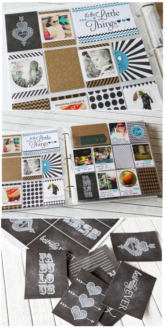 FREE Project Life Printables | Inspired By Peanut & Bean - like that she printed basic patterns on Kraft for a different look.