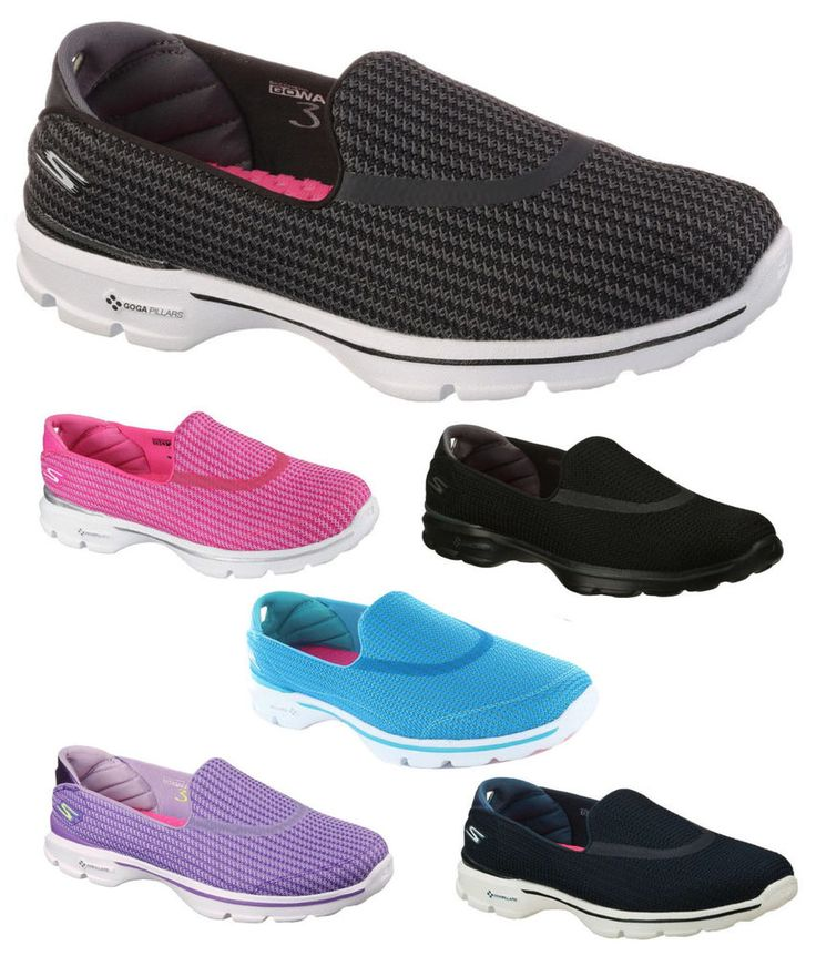 Ladies New Skechers Go Walk 3 Shoes. Ladies new Go Walk 3 fitness trainers by Skechers. UK sizes 3 - 8 available in 4 colours&#x3b; black/white, navy, hot pink, turquoise, black and purple. Memory Form Fit design with memory foam padding around heel for a custom-feel fit. | eBay!