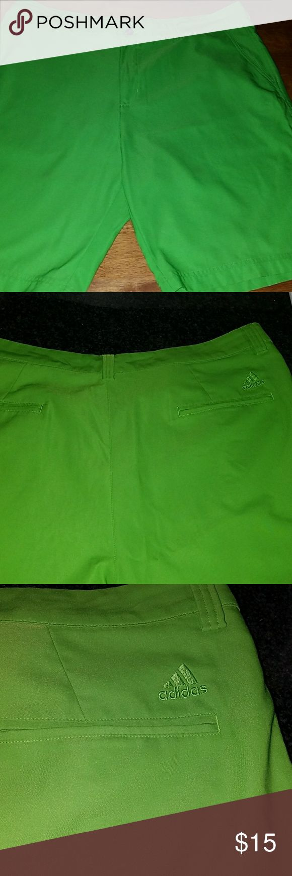 ADIDAS MEN'S GOLF SHORTS,  LIME GREEN SZ 38 Very popular lime green color men's golf shorts by Adidas size 38 in the waist. These are in excellent condition with no flaws. They are from a clean non-smoking home. adidas Shorts