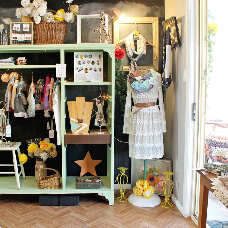 Cute way retail display our scarves and jewellery in our Recycled Gallery store.