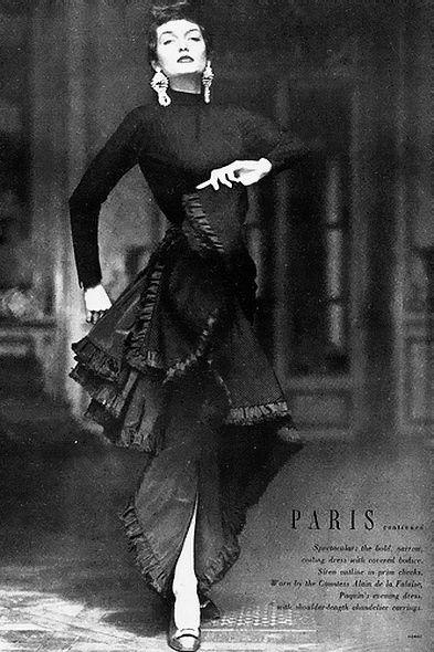 Maxime de la Falaise modelling a Paquin evening dress, photo by Horst P Horst