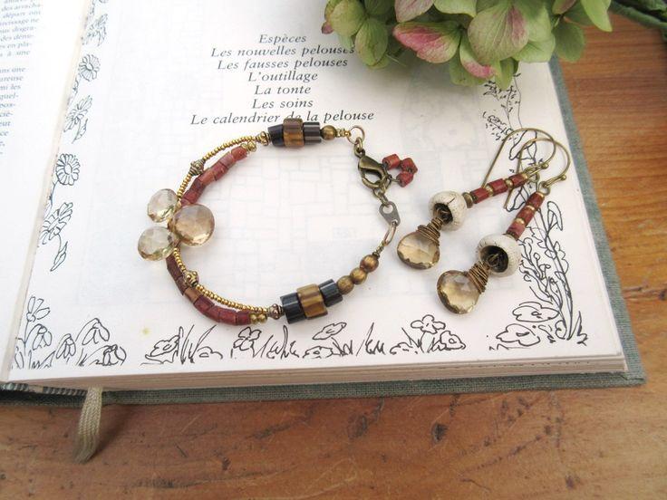 Tiède Abri Du Silence : Une parure bracelet et boucles d'oreille avec briolettes en quartz fumé !!!! : Parure par les-reves-de-minsy