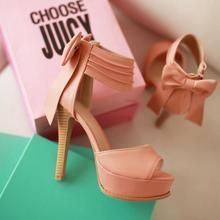 JY Shoes - Bow Accent Platform Sandal Stilettos