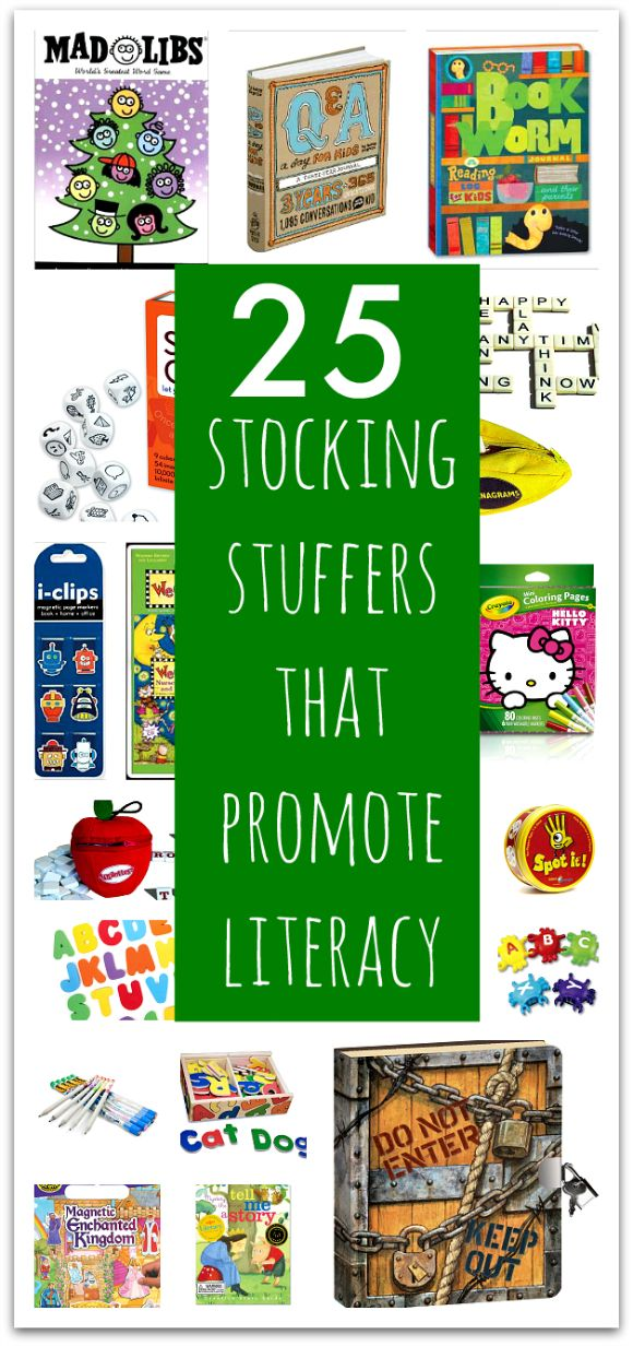 Stocking stuffers for kids that are educational. These toys and games all promote literacy.