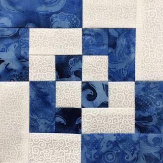 Log Cabin Variation Quilt Block – Blue & White Sam…