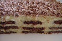 Sütés nélkül is készíthetsz finom édességet, ami tele van krémmel és nagyon csokis! Vigyázat, nagyon gyorsan elfogy! Hozzávalók: 45 dkg kakaós keksz 2 csomag Aranka vaníliakrém (Dr. Oetker, más főzés nélküli krém is lehet) 6 dl tej 1...