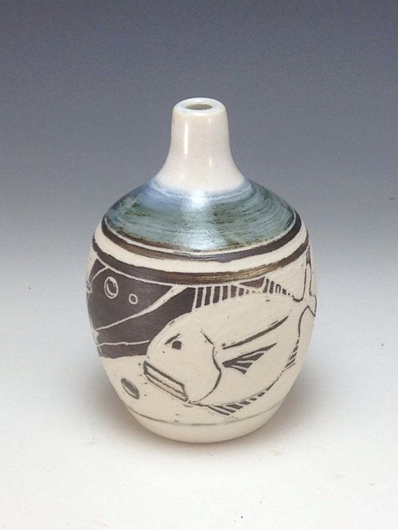 Jack Fish Vase Designed with Sgraffito Fish Webb by webbpottery #sgraffito #pottery #annewebb #fish #gift