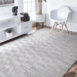 Nuloom Handmade Flatweave Concentric Diamond Trellis Wool Cotton Rug 10 X 14 10 X 14 Handmade Home Decor Cotton Area Rug Area Rugs For Sale