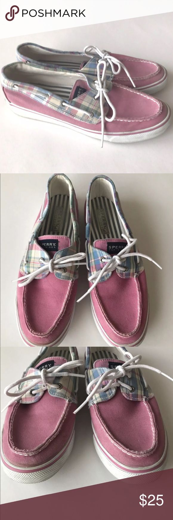"Sperry plaid biscayne boat shoes pink loafers 10 Sperry Top-Sider Women's Biscayne Plaid Boat Shoe - Pink Plaid   Ready for boating season or just want to take on the nautical trend? The Sperry Top-Sider Biscayne is a casual shoe with fun, updated prints to pair with your boatneck top and capris. | Plaid canvas upper | Webbed lacing detail | Padded fabric insole with Sperry logo | 3/4"" heel 