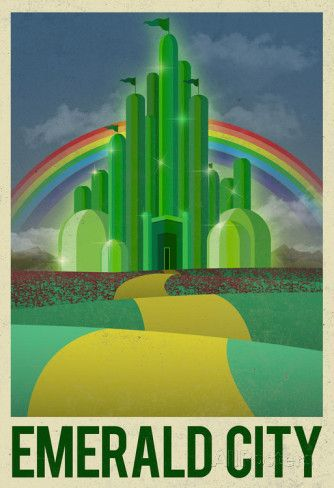 Emerald City Retro Travel Poster Póster